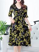 billige Trendy og farverige chiffontørklæder-Dame Chiffon Kjole - Blomstret Midi U-hals