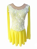 cheap Cocktail Dresses-Figure Skating Dress Girls' Ice Skating Dress Yellow strenchy Professional Skating Wear Sequin Long Sleeve Figure Skating