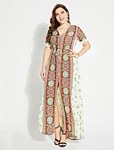 povoljno Ženske haljine-Žene Veći konfekcijski brojevi Swing kroj Haljina - S izrezom, Cvjetni print V izrez Maxi Visoki struk