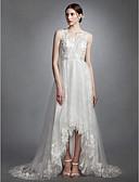 preiswerte Hochzeitskleider-A-Linie V-Ausschnitt Asymmetrisch Spitze / Tüll Maßgeschneiderte Brautkleider mit Applikationen durch LAN TING BRIDE® / Durchsichtig