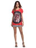 tanie T-shirt-Damskie Podstawowy Bawełna Luźna Spodnie - Kolorowy blok / Zwierzę Wysoka talia Czerwony / Mini / Święto