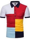 tanie Męskie koszulki polo-Polo Męskie Podstawowy Bawełna Kołnierzyk koszuli Szczupła - Kolorowy blok / Krótki rękaw / Lato