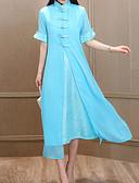 tanie Sukienki-Damskie Wyjściowe Wzornictwo chińskie / Wyrafinowany styl Linia A Sukienka - Jendolity kolor Stójka Midi / Lato