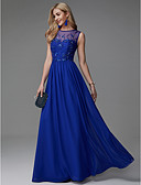 cheap Prom Dresses-A-Line Jewel Neck Floor Length Chiffon Prom / Formal Evening Dress with Beading by TS Couture®