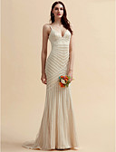 cheap Wedding Dresses-Mermaid / Trumpet V Neck Sweep / Brush Train Lace / Tulle Made-To-Measure Wedding Dresses with Lace by LAN TING BRIDE®