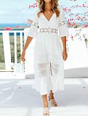 Χαμηλού Κόστους Παρεό-Γυναικεία Εξόδου Παραλία Μπόχο Λεπτό Θήκη Σιφόν Φόρεμα - Μονόχρωμο, Δαντέλα Μακρύ Λαιμόκοψη V