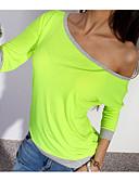 billige Skjorter til damer-Bomull Båthals T-skjorte Dame - Ensfarget / Fargeblokk Blå
