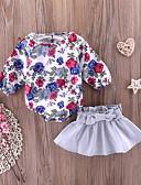 Χαμηλού Κόστους Βρεφικά φορέματα-Μωρό Κοριτσίστικα Ενεργό / Βασικό Καθημερινά Στάμπα Μακρυμάνικο Μακρύ Βαμβάκι / Πολυεστέρας Σετ Ρούχων Θαλασσί / Νήπιο