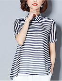 ieftine Tricou-Pentru femei Tricou Vintage - Dungi Franjuri Alb negru