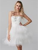 baratos Vestidos de Coquetel-Princesa Decote Princesa Curto / Mini Tule Coquetel Vestido com Miçangas / Camada de TS Couture®