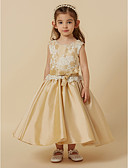cheap Flower Girl Dresses-Princess Tea Length Flower Girl Dress - Lace / Taffeta Sleeveless Jewel Neck with Bow(s) / Sash / Ribbon by LAN TING BRIDE®