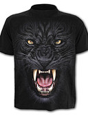 cheap Men's Jackets & Coats-Men's Street chic / Exaggerated Plus Size Cotton T-shirt - Color Block / Animal Lion, Print / Short Sleeve