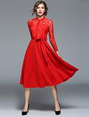 זול שמלות נשים-מידי תחרה, אחיד - שמלה גזרת A / סווינג וינטאג' / סגנון רחוב בגדי ריקוד נשים