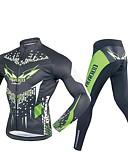 billige Sett med sykkeltrøyer og shorts/bukser-Realtoo Herre Langermet Sykkeljersey med tights - Svart / Grønn Sykkel Klessett, 3D Pute Polyester, Spandex Geometrisk / Elastisk