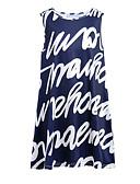 ieftine Rochii de Damă-Pentru femei De Bază / Șic Stradă Bumbac Pantaloni - Scrisă Imprimeu Talie Înaltă Albastru piscină