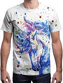 ieftine Maieu & Tricouri Bărbați-Bărbați Tricou Activ / Șic Stradă - Buline / Bloc Culoare / Animal Imprimeu