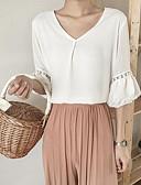 tanie Bluzka-Bluzka Damskie Vintage, Frędzel Bawełna Wyjściowe Solidne kolory / Geometric Shape Bufka Czarno-biały