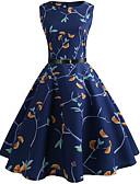 ieftine Regina Vintage-Pentru femei Vintage Swing Rochie - Imprimeu, Floral Lungime Genunchi
