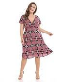 povoljno Bluza-Žene Vintage / Boho Rukav latica Korice / Swing kroj Haljina - Print, Geometrijski oblici Do koljena