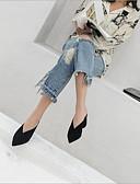 baratos Camisas Femininas-Mulheres Sapatos Couro Verão Conforto Tamancos e Mules Salto Robusto Preto / Marron / Rosa claro