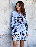baratos Vestidos de Mulher-Mulheres Camiseta Vestido - Frente Única Acima do Joelho