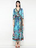 preiswerte Damen Kleider-Damen Boho Swing Kleid - mit Schnürung, Blumen / Abstrakt Midi V-Ausschnitt