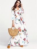 cheap Women's Dresses-Women's Plus Size Street chic Cotton Sheath Dress - Floral White Maxi V Neck