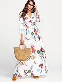 זול שמלות נשים-לבן צווארון V מקסי פרחוני - שמלה נדן כותנה מידות גדולות סגנון רחוב בגדי ריקוד נשים