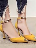 hesapli Kokteyl Elbiseleri-Kadın's Ayakkabı Nubuk deri Bahar / Sonbahar Rahat / Temel Topuklu Topuklular Stiletto Topuk için Siyah / Sarı / Yeşil