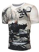 tanie Koszulki i tank topy męskie-T-shirt Męskie Podstawowy / Wzornictwo chińskie Bawełna Okrągły dekolt Kolorowy blok / Portret Czarno-biały / Krótki rękaw
