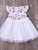 hesapli Kız Çocuk Etekleri-Toddler Genç Kız sevimli Stil Sokak Şıklığı Günlük Dışarı Çıkma Çiçekli Örümcek Ağı Kısa Kollu Diz üstü Elbise Beyaz / Pamuklu