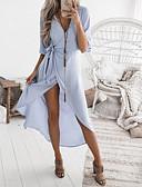 رخيصةأون ملابس السباحة والبيكيني 2017 للنساء-فستان نسائي ثوب ضيق أساسي محاك بربطات - قطن غير متماثل فضفاض لون سادة منخفضة V رقبة / مثير