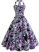 baratos Roupas Íntimas e Meias Masculinas-Mulheres Vintage balanço Vestido - Estampado, Floral Altura dos Joelhos
