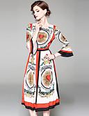 זול שמלות נשים-מידי דפוס, גיאומטרי - שמלה גזרת A סווינג שרוול התלקחות מתוחכם סגנון רחוב בגדי ריקוד נשים
