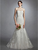 cheap Wedding Dresses-Mermaid / Trumpet Illusion Neck Sweep / Brush Train Lace / Tulle Made-To-Measure Wedding Dresses with Beading / Appliques / Button by LAN TING BRIDE® / See-Through