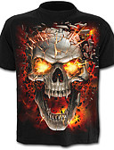 cheap Men's Tees & Tank Tops-Men's Active Plus Size Cotton T-shirt - Skull Print / Short Sleeve