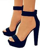 זול שמלות נשים-בגדי ריקוד נשים נעליים עור נובוק אביב קיץ בלרינה בייסיק סנדלים עקב עבה פתוח בבוהן שחור / שקד / מסיבה וערב / מסיבה וערב