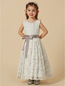 cheap Flower Girl Dresses-A-Line Tea Length Flower Girl Dress - Lace / Satin Sleeveless Scoop Neck with Bow(s) / Sash / Ribbon by LAN TING BRIDE®