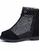 abordables Tops Tank para Mujer-Mujer Zapatos Cuero Nobuck Primavera Confort Sandalias Tacón Plano Punta abierta Negro