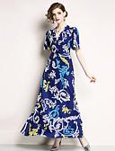 cheap Women's Dresses-Women's Going out Vintage / Sophisticated Flare Sleeve Slim A Line / Swing Dress - Geometric Print High Waist Maxi V Neck / Summer