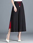 ieftine Pantaloni de Damă-Pentru femei De Bază Larg Picior Larg Pantaloni - Mată Talie Înaltă Negru / Ieșire