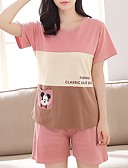 cheap Women's Nightwear-Women's U Neck Suits Pajamas Striped / Color Block / Summer