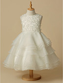 cheap Flower Girl Dresses-A-Line Knee Length Flower Girl Dress - Lace / Organza Sleeveless Scoop Neck with Lace by LAN TING Express