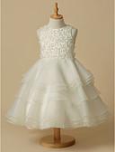 olcso Virágszóró kislány ruhák-A-vonalú Térdig érő Virágoslány ruha - Csipke / Organza Ujjatlan Scoop nyak val vel Csipke által LAN TING BRIDE®