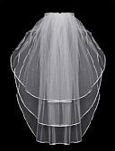 رخيصةأون طرحات الزفاف-Three-tier مجوهرات عصرية / موديل الورد / متشابك الحجاب الزفاف Chapel Veils مع هدب / ربط 31،5 في (80cm) بولي / تول / Oval