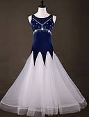 abordables Vestidos de Dama de Honor-Baile de Salón Vestidos Mujer Rendimiento Licra Cristales / Rhinestones / Combinación / Fruncido Sin Mangas Vestido