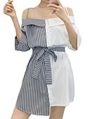 baratos Vestidos de Festa-Mulheres Fofo Reto Vestido - Patchwork, Listrado Mini
