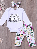 cheap Girls' Clothing Sets-Baby Girls' Active Daily Print Long Sleeve Long Cotton / Polyester Clothing Set White / Toddler