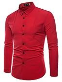 abordables Camisas de Hombre-Hombre Negocios / Exagerado Trabajo Algodón Camisa Un Color / Manga Larga / Verano / Otoño / Pitillo