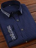 baratos Relógios da Moda-Homens Camisa Social Básico Listrado / Geométrica